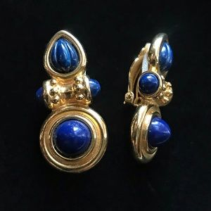 Vintage Gold and Blue Clip On Earrings